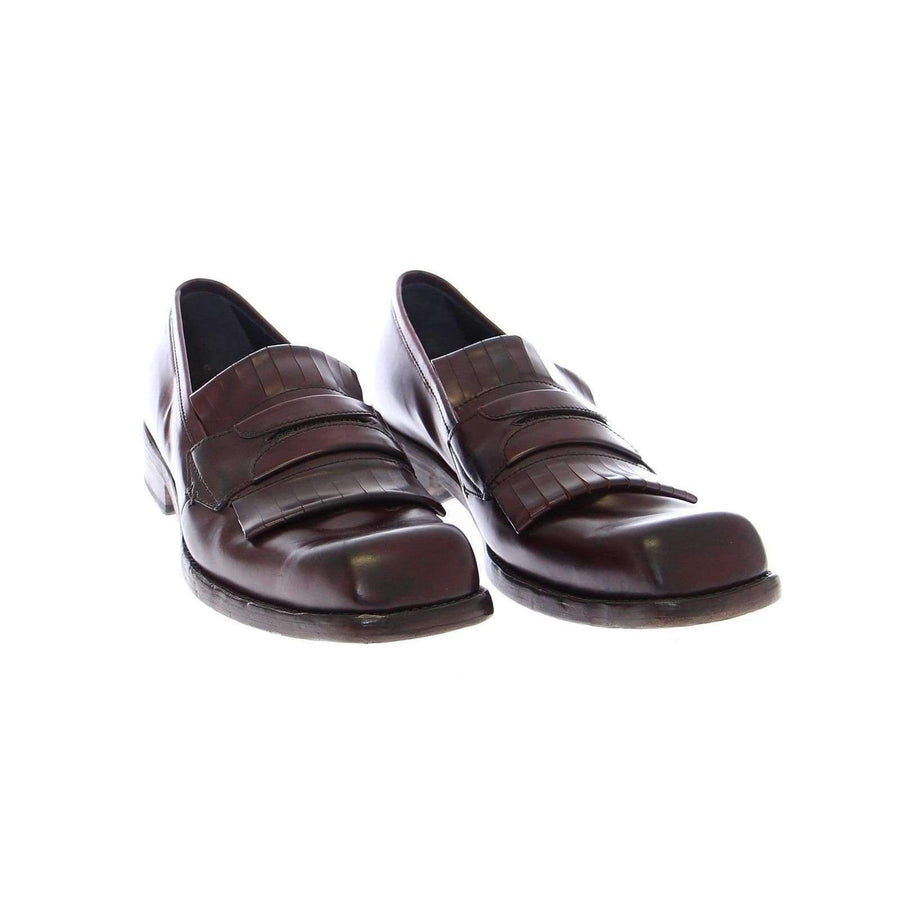 Dolce & Gabbana Bordeaux Leather Logo Loafers Shoes - Men - Shoes - Loafers Drivers - Dolce & Gabbana | Gethuda Fashion