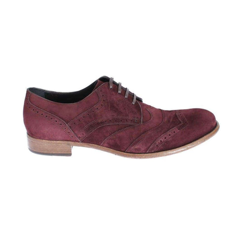 Dolce & Gabbana Bordeaux Leather Suede Wingtip Shoes - Men - Shoes - Boots - Dolce & Gabbana | Gethuda Fashion