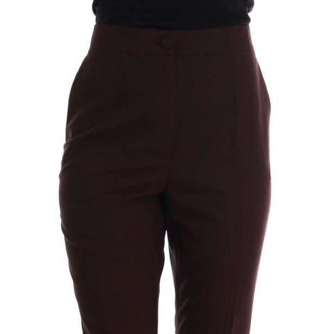 Dolce & Gabbana Bordeaux Wool Stretch Ankle Pants