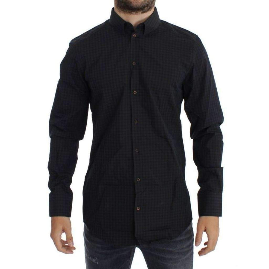 Dolce & Gabbana Brown Blue Checkered GOLD Slim Fit Casual Shirt - Men - Apparel - Shirts - Dress Shirts - Dolce & Gabbana | Gethuda Fashion