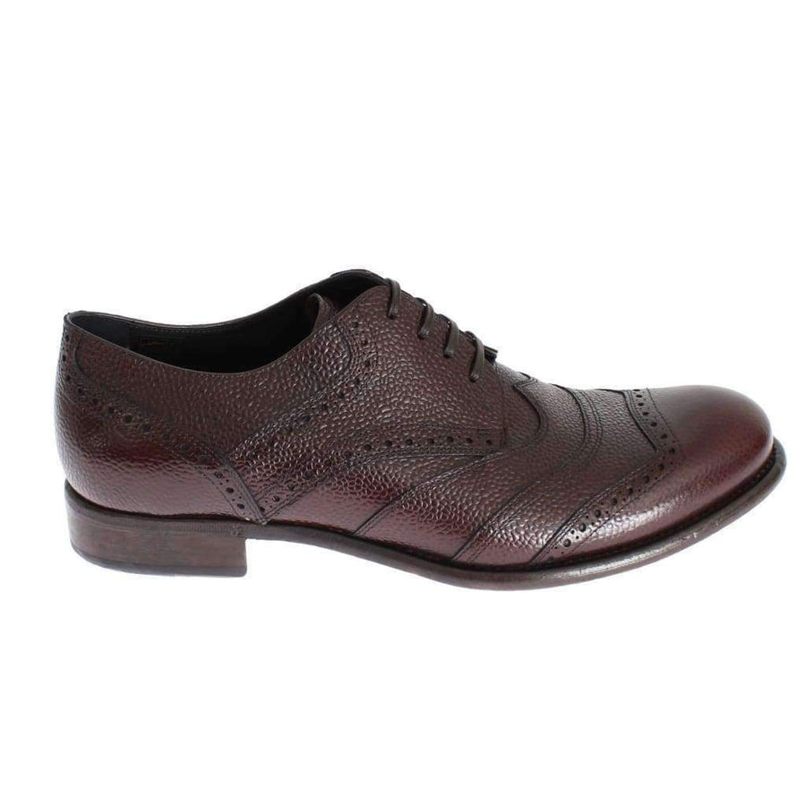 Dolce & Gabbana Brown Bordeaux Leather Dress Shoes - Men - Shoes - Oxfords - Dolce & Gabbana | Gethuda Fashion