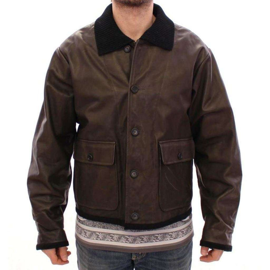 Dolce & Gabbana Brown Calf Leather Jacket Flight Aviator - Men - Apparel - Outerwear - Jackets - Dolce & Gabbana | Gethuda Fashion