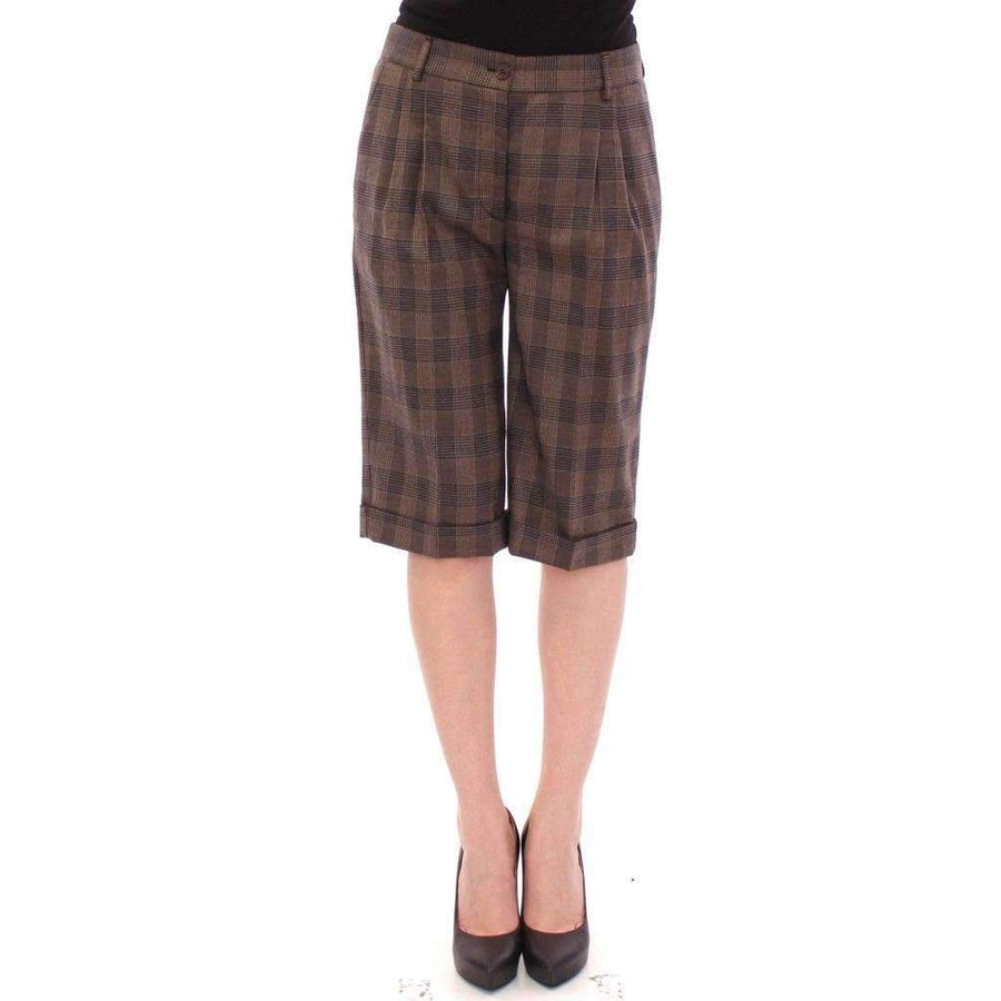 Dolce & Gabbana Brown checkered wool shorts pants - Women - Apparel - Shorts - Casual - Dolce & Gabbana | Gethuda Fashion