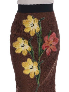 Dolce & Gabbana Brown Floral Lace Pencil Skirt