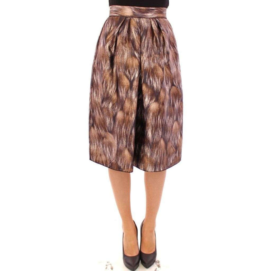 Dolce & Gabbana Brown Floral Silk Straight Full Skirt - Women - Apparel - Skirts - Knee Length - Dolce & Gabbana | Gethuda Fashion