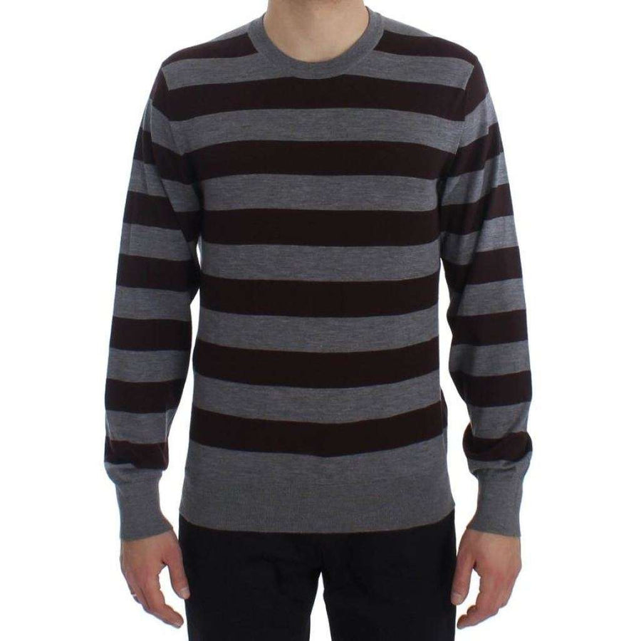 Dolce & Gabbana Brown Gray Striped Cashmere Pullover Sweater