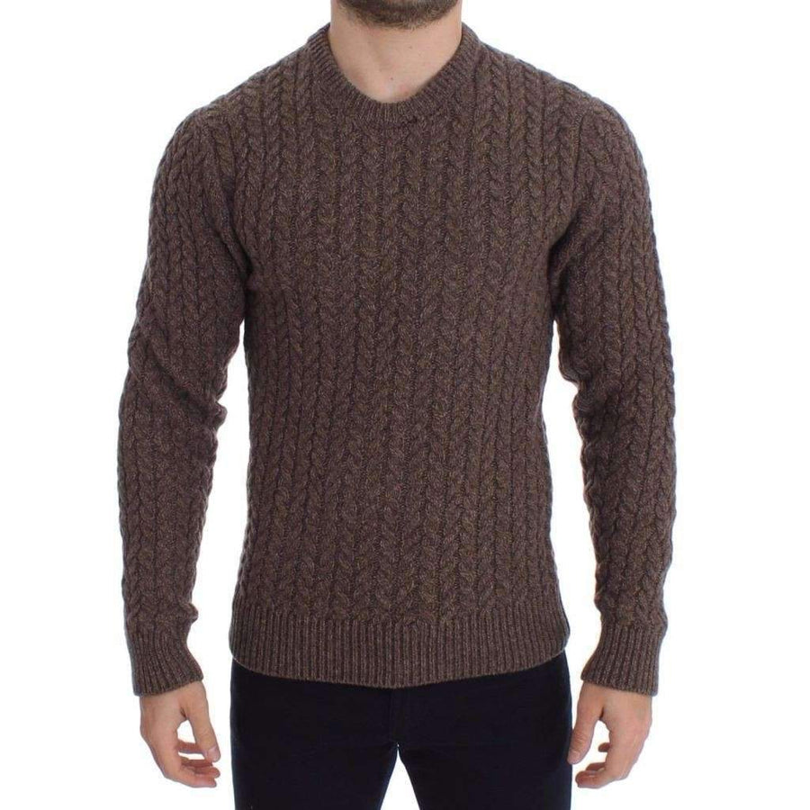 Dolce & Gabbana Brown Knitted Wool Crewneck Sweater Pullover - Men - Apparel - Sweaters - Pull Over - Dolce & Gabbana | Gethuda Fashion