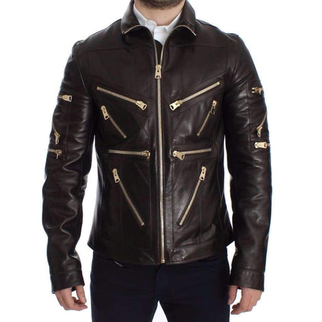 Brown Lambskin Leather Zipper Jacket - Men - Apparel - Outerwear - Jackets - Dolce & Gabbana | Gethuda Fashion