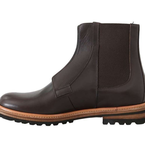 Dolce & Gabbana Brown Leather Ankle Stretch Boots