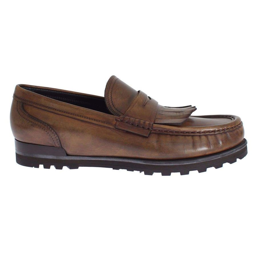 Dolce & Gabbana Brown Leather Loafers Casual Dress Shoes - Men - Shoes - Loafers Drivers - Dolce & Gabbana | Gethuda Fashion