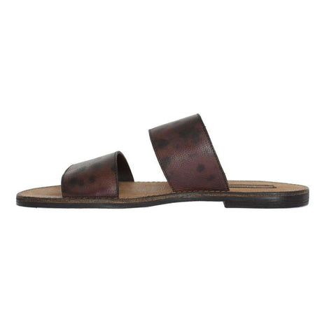 Dolce & Gabbana Brown Leather Pattern Slides Sandals - Men - Shoes - Sandals - Dolce & Gabbana | Gethuda Fashion