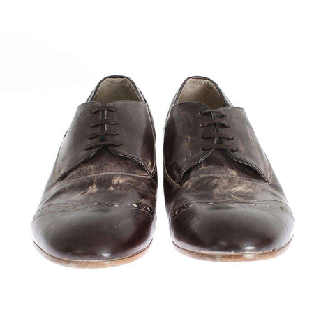 Brown Leather Wingtip Laceups Shoes - Men - Shoes - Oxfords - Dolce & Gabbana | Gethuda Fashion