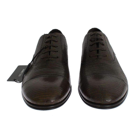 Brown Lizard Skin Laceups Dress Shoes - Men - Shoes - Oxfords - Dolce & Gabbana | Gethuda Fashion