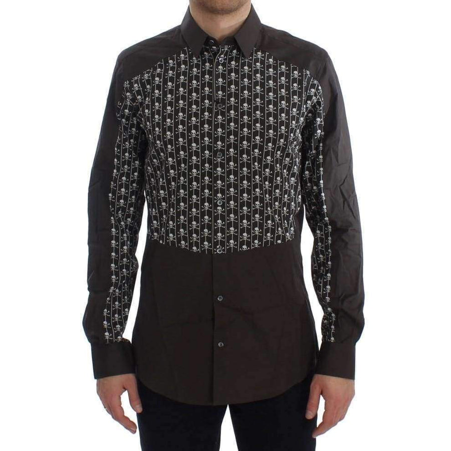 Dolce & Gabbana Brown Skull Cotton Slim GOLD Shirt - Men - Apparel - Shirts - Dress Shirts - Dolce & Gabbana | Gethuda Fashion