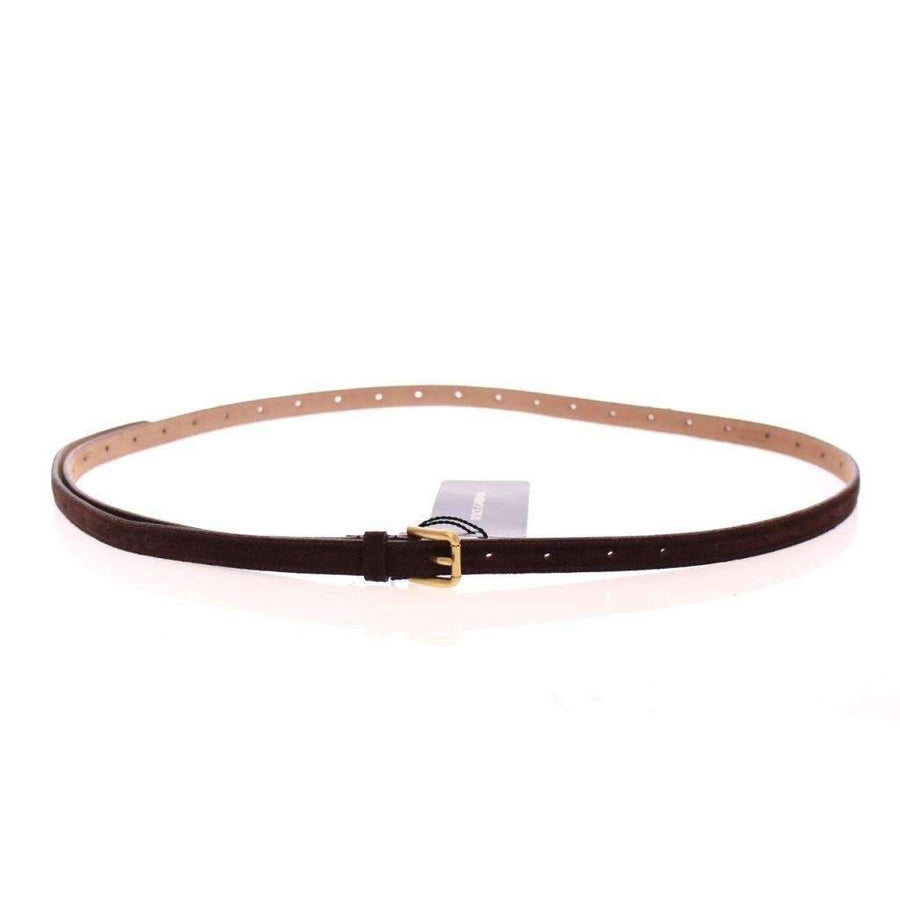 Dolce & Gabbana Brown Suede Leather Logo Belt - Women - Accessories - Belts - Dolce & Gabbana | Gethuda Fashion