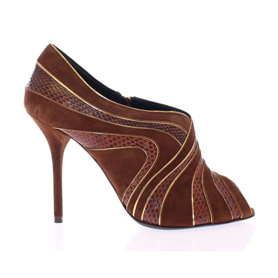 Dolce & Gabbana Brown Suede Snakeskin Open Toe Pumps Shoes - Women - Shoes - Pumps - Dolce & Gabbana | Gethuda Fashion