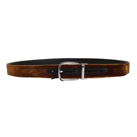 Brown Velvet Logo Waist Silver Buckle Belt - Men - Accessories - Belts - Dolce & Gabbana | Gethuda Fashion