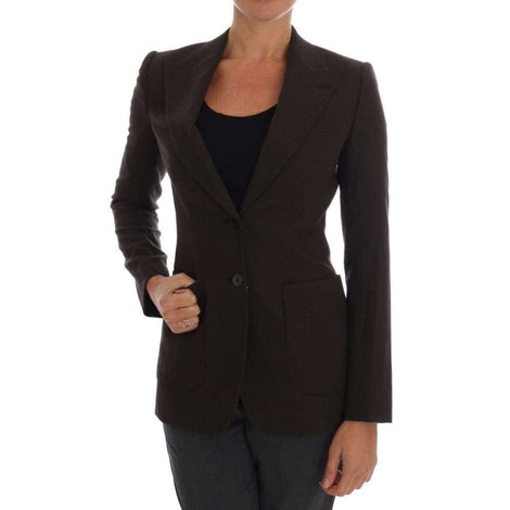 Dolce & Gabbana Brown Wool Cotton Two Button Blazer Jacket