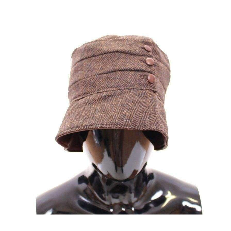 Dolce & Gabbana Brown Wool Leather Bucket Cap Hat Cappello - Women - Accessories - Hats - Dolce & Gabbana | Gethuda Fashion