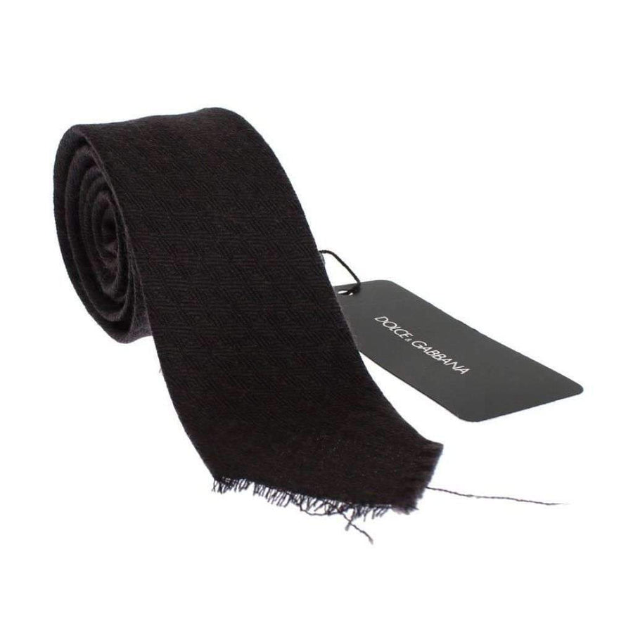 Dolce & Gabbana Brown Wool Skinny Neck Tie - Men - Accessories - Ties - Dolce & Gabbana | Gethuda Fashion