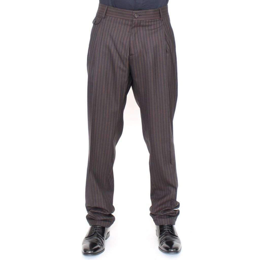 Dolce & Gabbana Brown Wool Stretch Pleated Pants - Men - Apparel - Trousers - Dolce & Gabbana | Gethuda Fashion