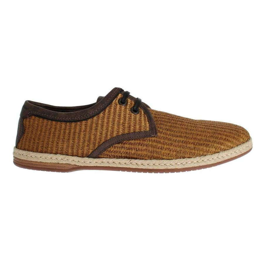 Brown Woven Raffia Leather Laceup Shoes - Men - Shoes - Loafers Drivers - Dolce & Gabbana | Gethuda Fashion
