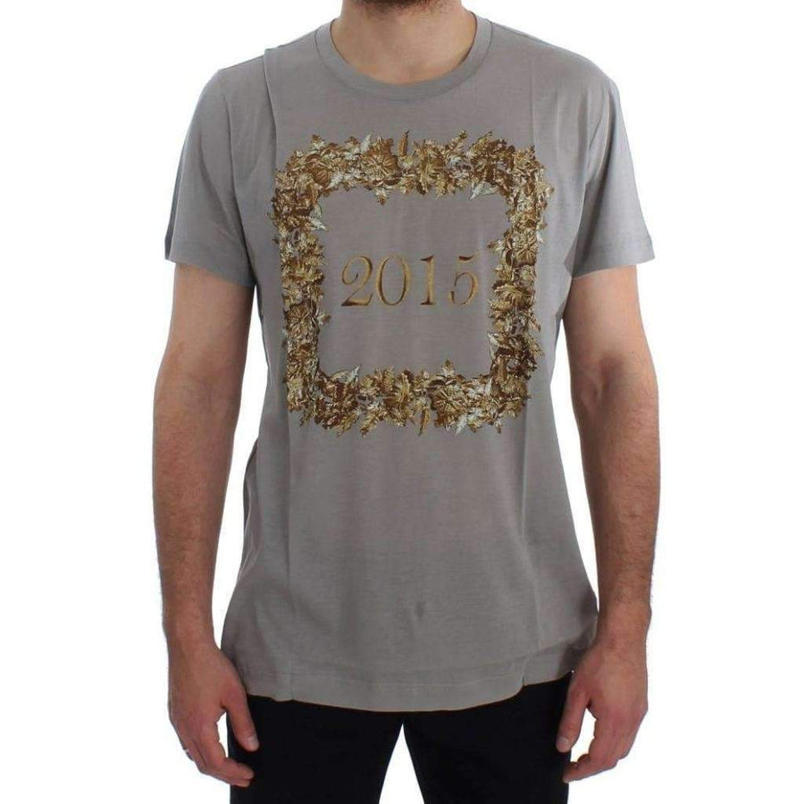 Dolce & Gabbana Crewneck 2015 Motive Print Gray Cotton T-shirt - Men - Apparel - Shirts - T Shirts - Dolce & Gabbana | Gethuda Fashion