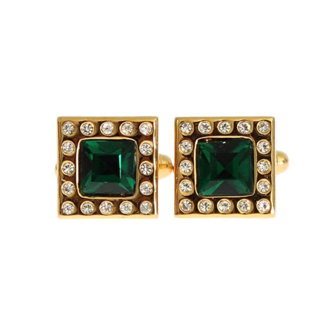 Dolce & Gabbana Gold Brass Clear Green Crystal Cufflinks - Men - Accessories - Cufflinks - Dolce & Gabbana | Gethuda Fashion