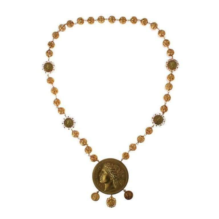 Dolce & Gabbana Gold Brass MONETE Roman Coin Necklace - Women - Jewelry - Necklaces - Dolce & Gabbana | Gethuda Fashion