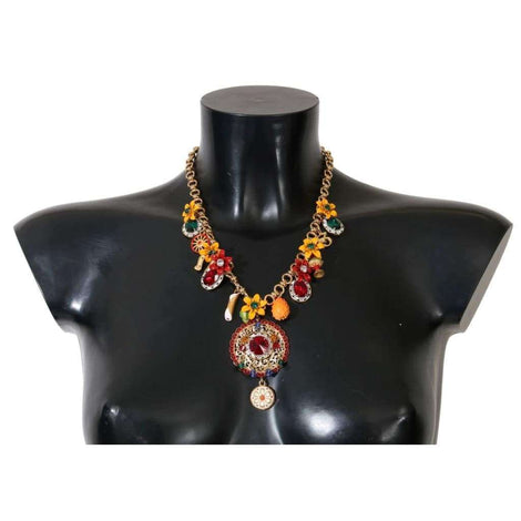 Dolce & Gabbana Gold Carretto Crystal Charms Statement Necklace