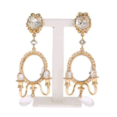 Dolce & Gabbana Gold Chandelier Crystal Clip On Earrings - Women - Jewelry - Earrings - Dolce & Gabbana | Gethuda Fashion