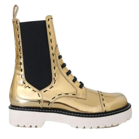 Gold Leather Boots Mid Calf Boots