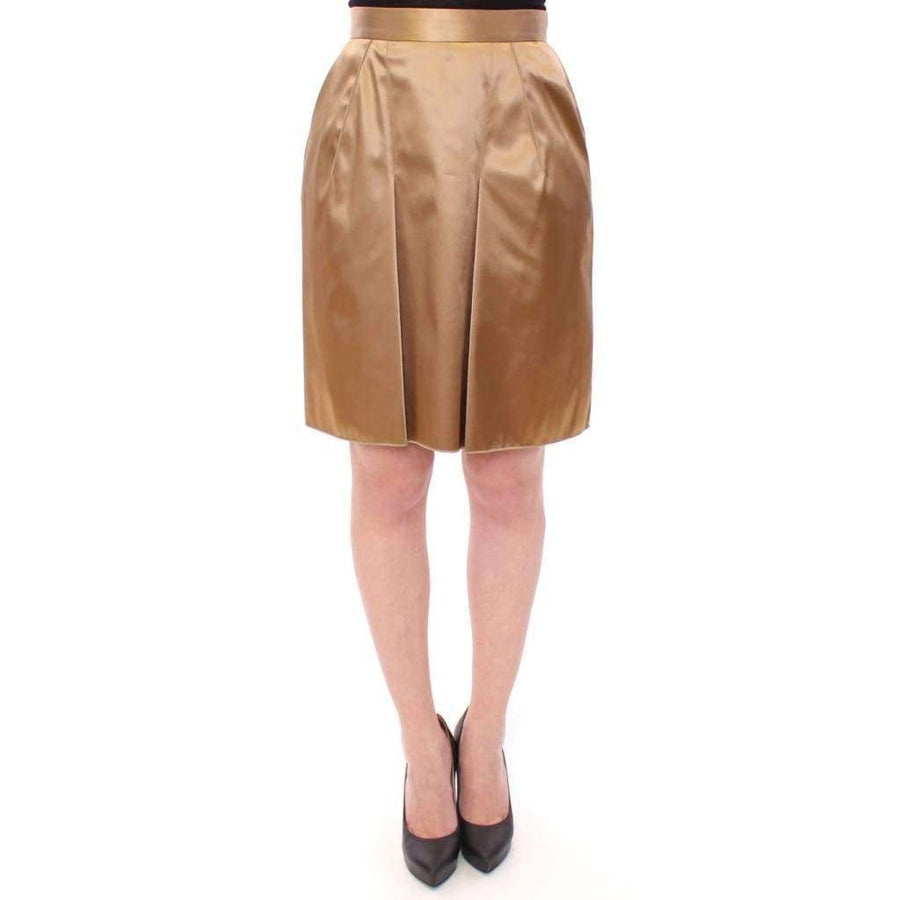 Dolce & Gabbana Gold Stretch Above Knee Zipper Skirt - Women - Apparel - Skirts - Knee Length - Dolce & Gabbana | Gethuda Fashion