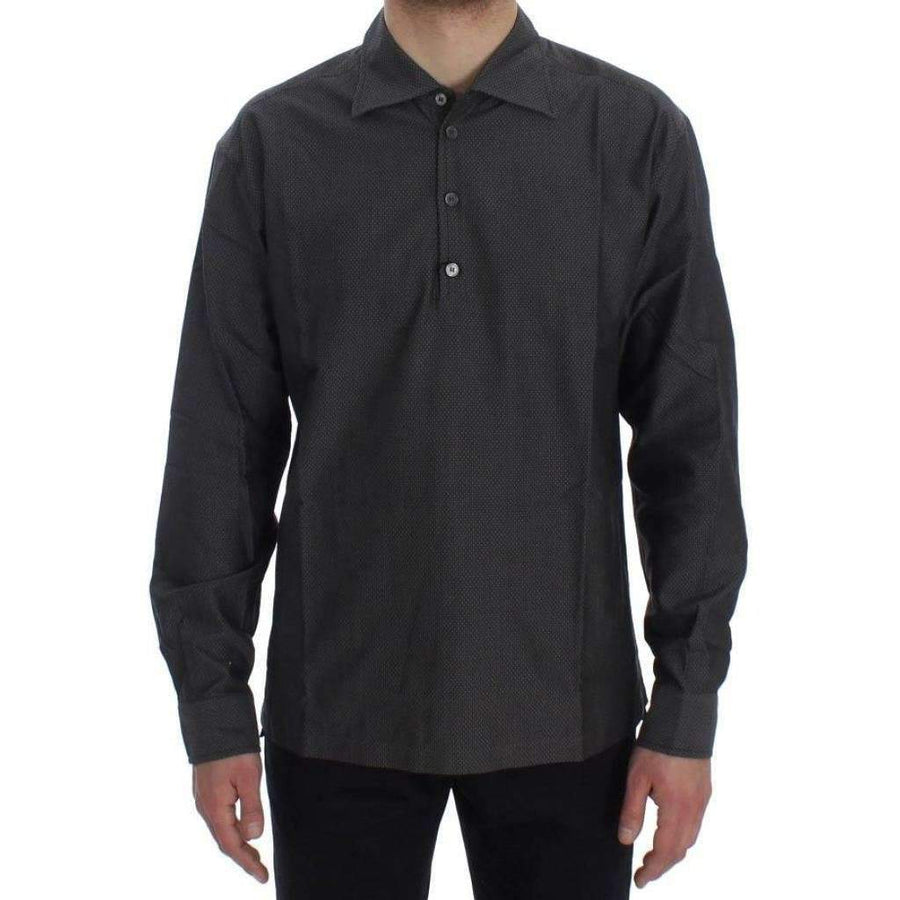 Dolce & Gabbana Gray Button Collar Cotton Shirt - Men - Apparel - Shirts - Dress Shirts - Dolce & Gabbana | Gethuda Fashion