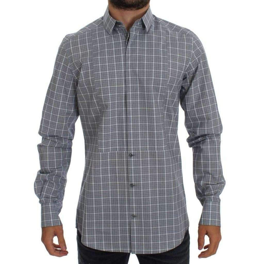 Dolce & Gabbana Gray Checkered Slim Fit GOLD Mens Shirt - Men - Apparel - Shirts - Dress Shirts - Dolce & Gabbana | Gethuda Fashion