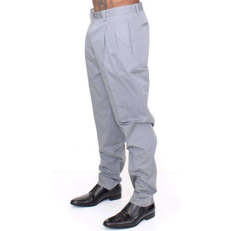 Dolce & Gabbana Gray Cotton Slim fit Pants Chinos - Men - Apparel - Trousers - Dolce & Gabbana | Gethuda Fashion
