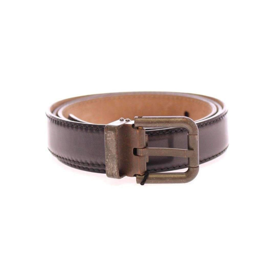 Dolce & Gabbana Gray Leather Logo Belt - Men - Accessories - Belts - Dolce & Gabbana | Gethuda Fashion