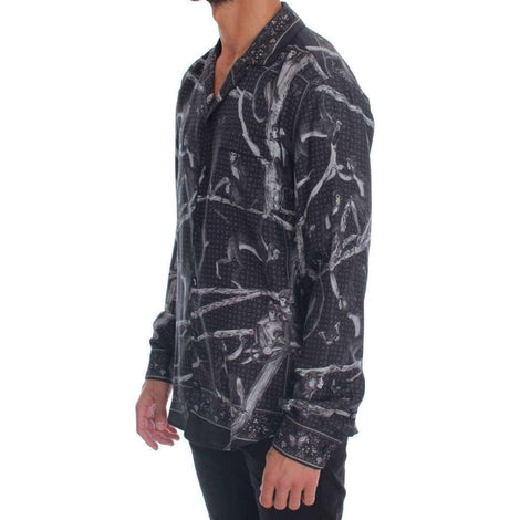 Dolce & Gabbana Gray Monkey Print Pajama Shirt - Men - Apparel - Lingerie And Sleepwear - Pajama Sets - Dolce & Gabbana | Gethuda Fashion