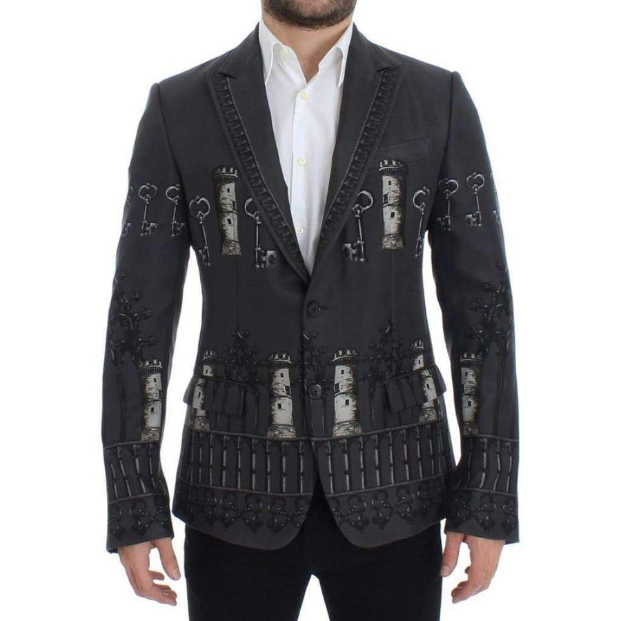 Dolce & Gabbana Gray silk knight two button blazer - Men - Apparel - Outerwear - Blazers - Dolce & Gabbana | Gethuda Fashion