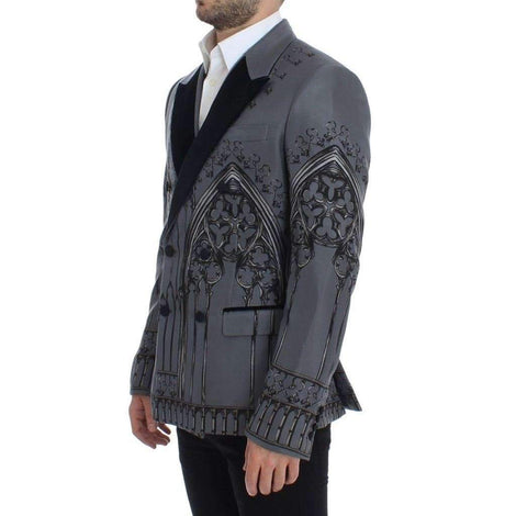 Dolce & Gabbana Gray Silk Knight Two Button Blazer