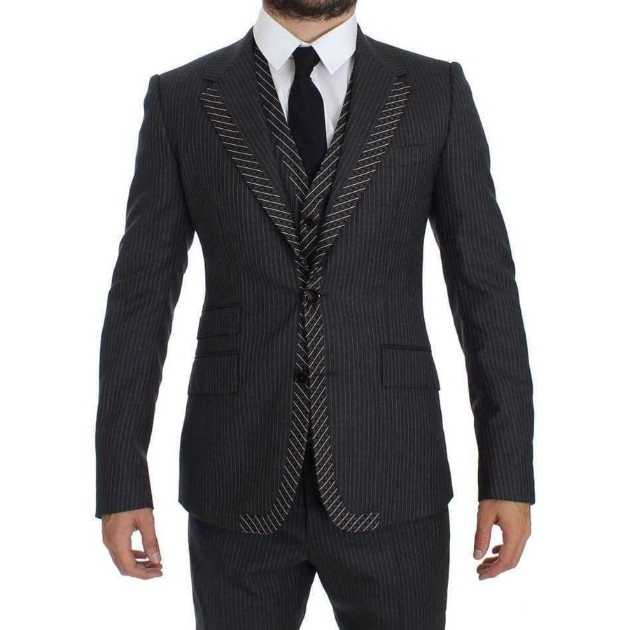 Dolce & Gabbana Gray Striped 3 Piece Slim Suit Tuxedo - Men - Apparel - Suits - Classic - Dolce & Gabbana | Gethuda Fashion