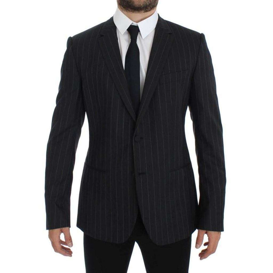 Dolce & Gabbana Gray Striped Slim Fit Wool Blazer - Men - Apparel - Outerwear - Blazers - Dolce & Gabbana | Gethuda Fashion