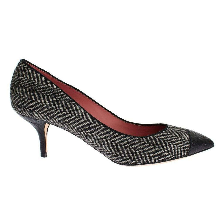 Dolce & Gabbana Gray Tweed Black Crocodile Pumps Shoes - Women - Shoes - Pumps - Dolce & Gabbana | Gethuda Fashion