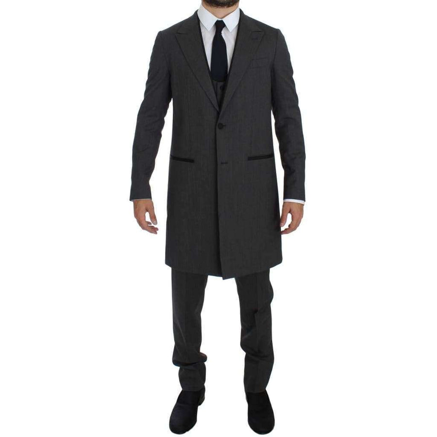 Dolce & Gabbana Gray Wool Stretch 3 Piece Long Blazer Suit - Men - Apparel - Suits - Classic - Dolce & Gabbana | Gethuda Fashion