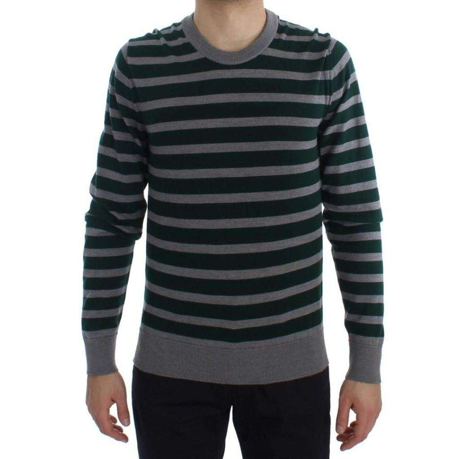 Dolce & Gabbana Green Gray Striped Wool Pullover Sweater - Men - Apparel - Sweaters - Pull Over - Dolce & Gabbana | Gethuda Fashion