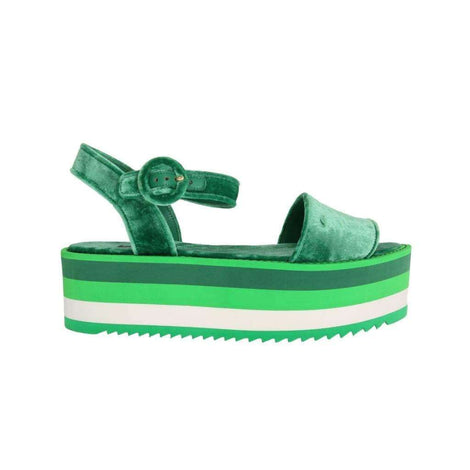 Dolce & Gabbana Green Velvet Platform Sandals Wedges - Women - Shoes - Wedges Espadrilles - Dolce & Gabbana | Gethuda Fashion