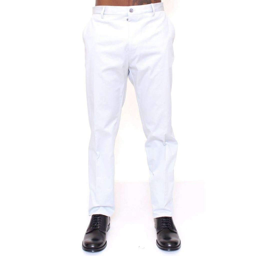Dolce & Gabbana Light Blue Regular Fit Logo Dress Pants - Men - Apparel - Trousers - Dolce & Gabbana | Gethuda Fashion