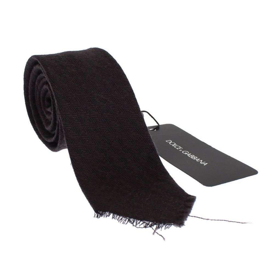 Dolce & Gabbana Men Brown Wool Skinny Neck Tie - Men - Accessories - Ties - Dolce & Gabbana | Gethuda Fashion