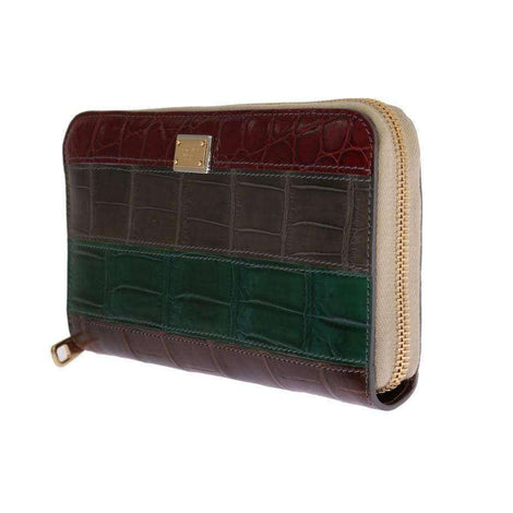Dolce & Gabbana Multicolor Leather Crocodile Skin Continental Wallet - Women - Bags - Clutches Evening - Dolce & Gabbana | Gethuda Fashion