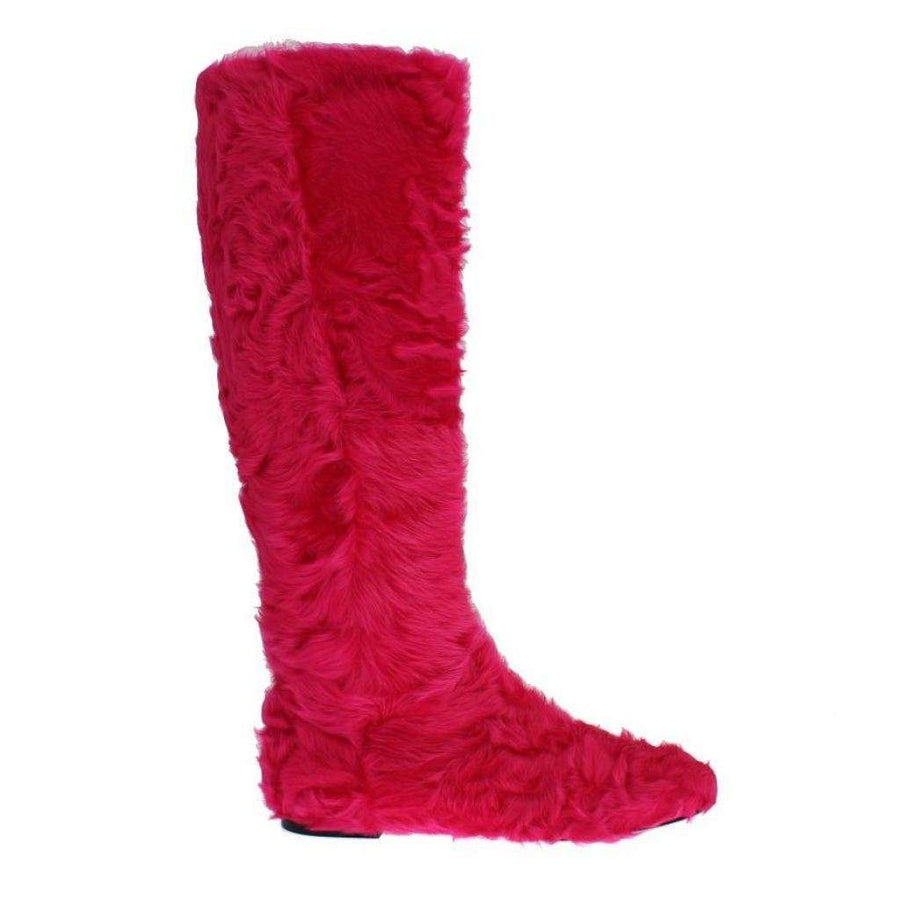 Dolce & Gabbana Pink Lamb Fur Leather Flat Boots - Women - Shoes - Boots - Dolce & Gabbana | Gethuda Fashion